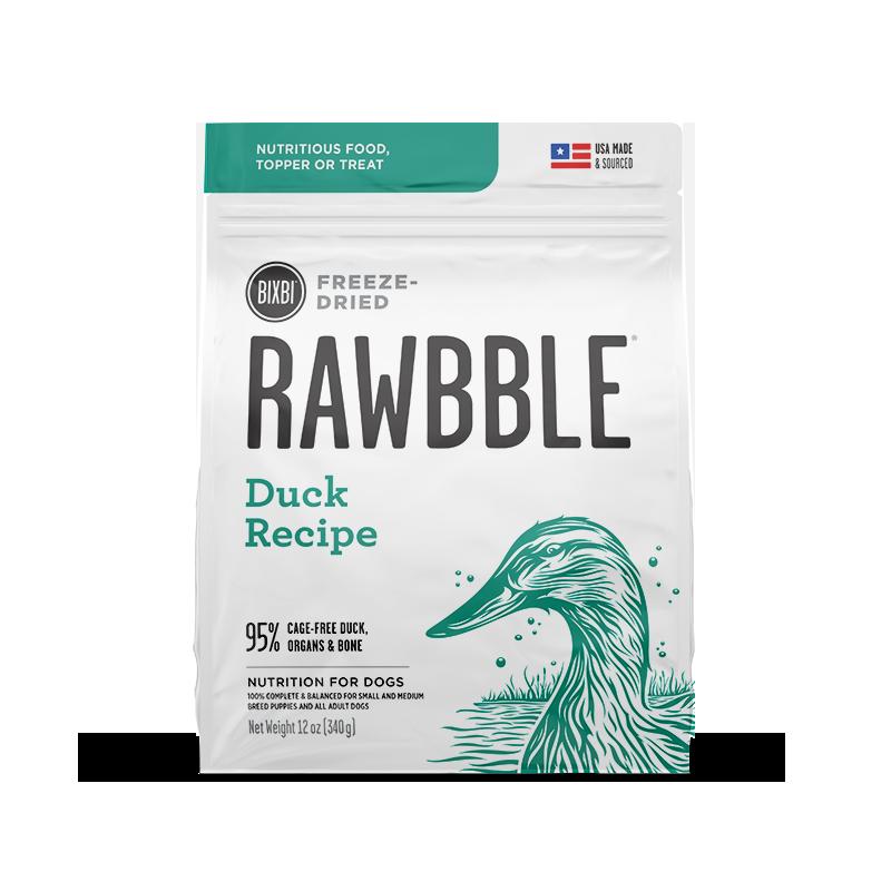 Bixbi Rawbble Freeze Dried Dog Food 12oz Front_Duck